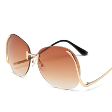 Vintage Oversized Rimless Sunglasses Retro Women UV400
