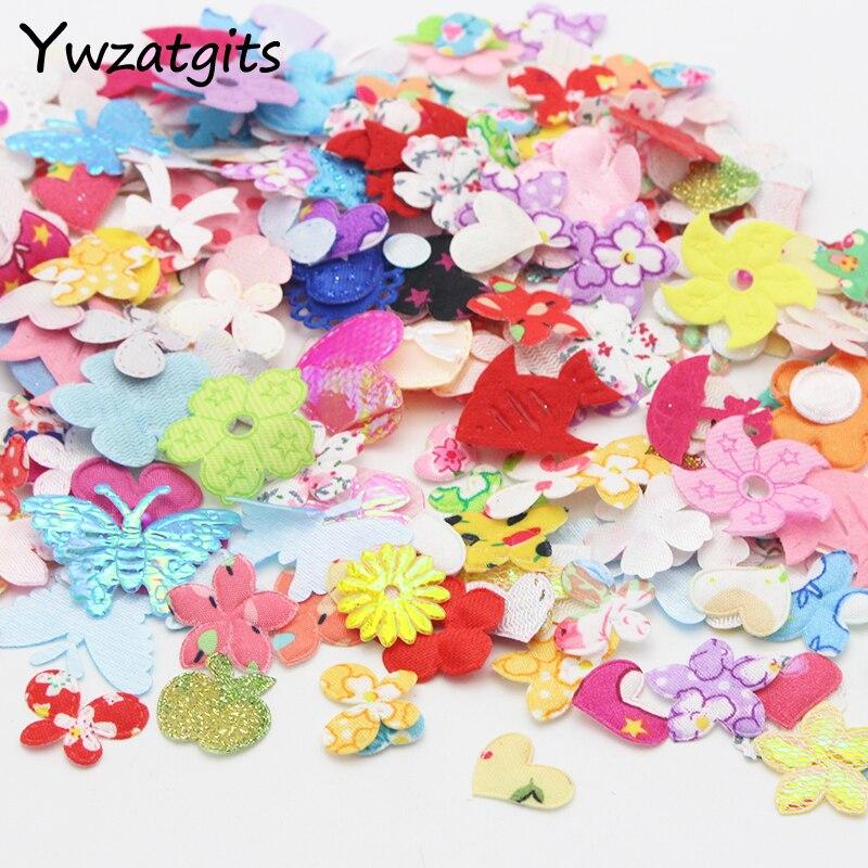 ywzatgits Flower Butterfly Fabric Multi Type DIY Handmade Garment Scrapbook Decoration Appr 10g/lot,(appr 220pcs/bag) 14020006