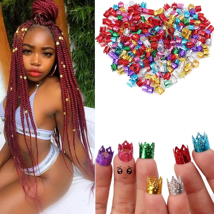 Alileader 30-50 PCS Adjustable Dreadlock Beads Braids Hair Clips Accessories Colorful Crown Cuff Dreadlocks Tube Bead Hair Ring