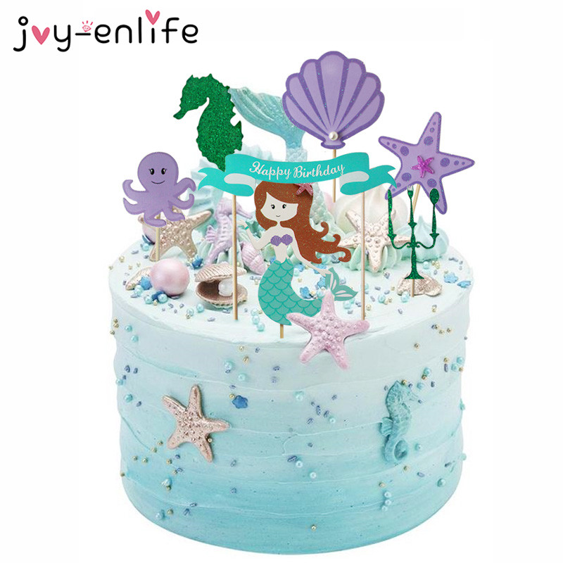 JOY-ENLIFE 1set Mermaid Happy Birthday Cake Topper DIY Mermaid Party Decorations Baby Shower 1st Birthday Party Decor Supplies