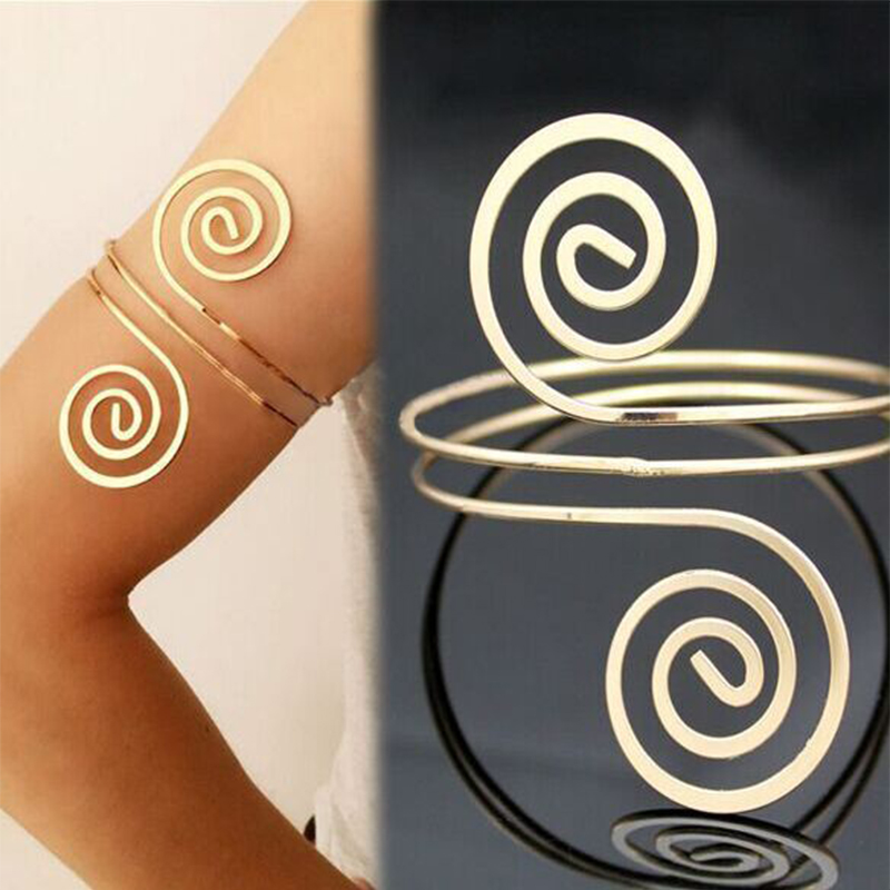 Charm Bracelets Lnrrabc Exaggeration Golden/silver Women Bracelet Swirl Upper Arm Armlet Aolly Note Multilayer Street Shoot Body Jewelry Gift