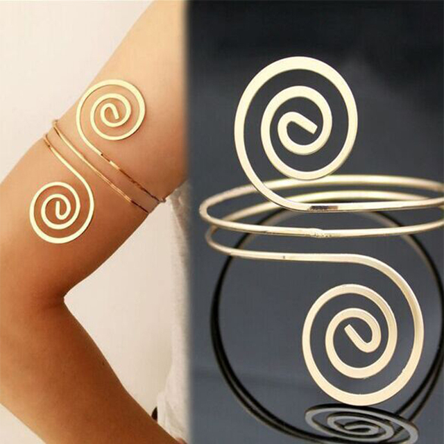 Exaggeration Golden/Silver Women Bracelet Swirl Upper Arm Armlet Aolly Note Multilayer Street Shoot Body Jewelry Gift
