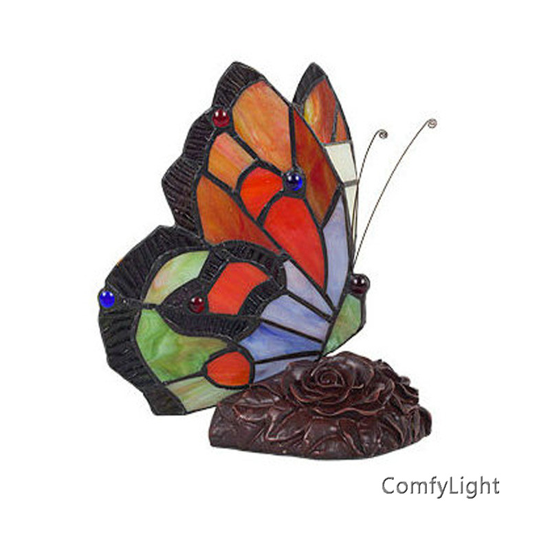 Stained Glass Butterfly Table Lamps Art Creative Tiffanylamp Living Room Bedside Lamp Decor Art Glass LED Table night Light fumat classic table lamp european baroque stained glass lights for living room bedside table light creative art led table lamps
