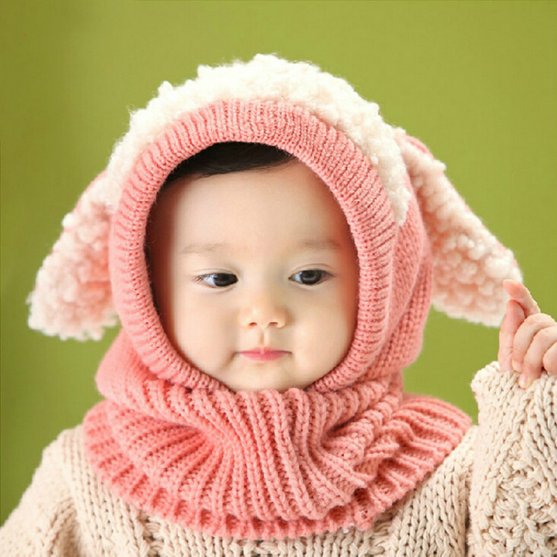 Winter Cute Dog Pattern Warm Wool Hooded Scarf Baby Hats Newborn Fotografia Photography Props Boys Girls Toddler Cap Beanie Baby