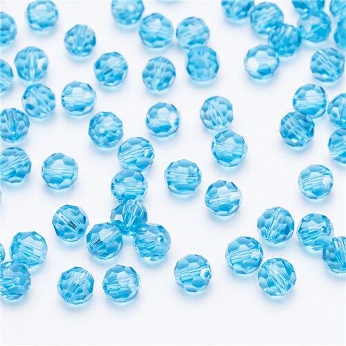 3, 4, 6, 8 мм разноцветные Круглые Стеклянные бусины для изготовления ювелирных изделий, аксессуары для рукоделия, Круглые граненые разделительные бусины, Z105 - Цвет: Z109 lake blue