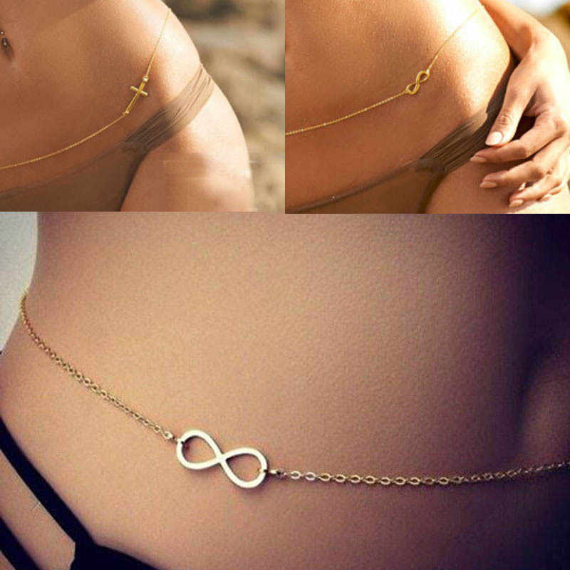 Lady Hot Sexy Bikini Infinity Eternal Love Lucky Body Necklace Waist Belly Chain 8 Shape Cross Shape Belly Chain