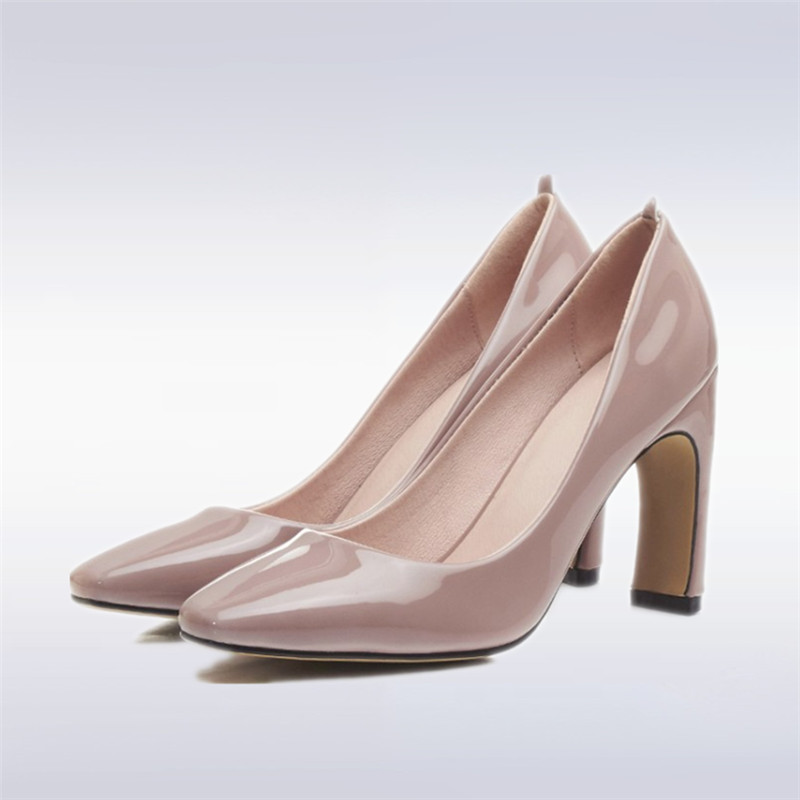 Plus Size 34-43 Solid color japanned Patent Leather shallow mouth Woman Pumps High Heels 9CM Square Toe Handmade Wedding Shoes