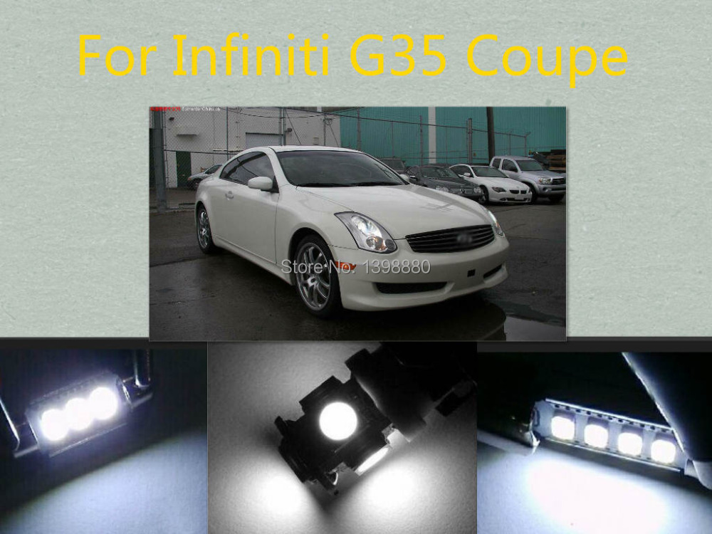 Error Free Canbus 7PCS White LED Interior Package kit For  G35 Coupe   Dome Door Trunk  Tag Lights smartbuy urban trend