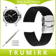 De Caucho De silicona Venda de Reloj 22mm 24mm para PAM Luminor Panerai Radiomir Cinturón de Hebilla de Seguridad de Acero Inoxidable Banda reloj de Pulsera pulsera
