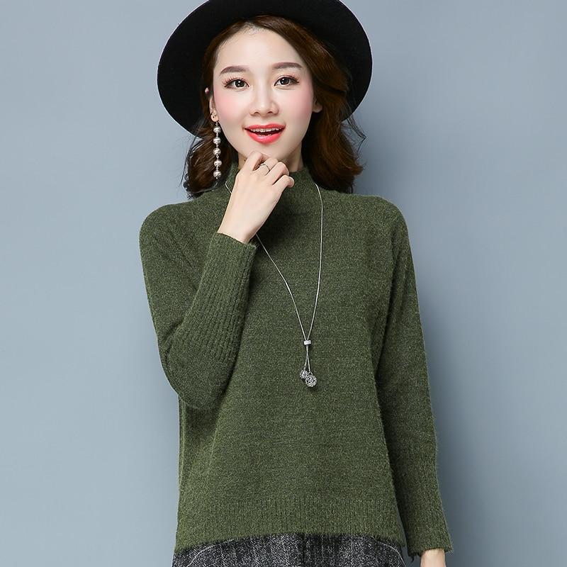 2019 nouvelle version coréenne de l'automne et de l'hiver demi-col roulé pull femmes lâche épais cachemire tricot court paragraphe