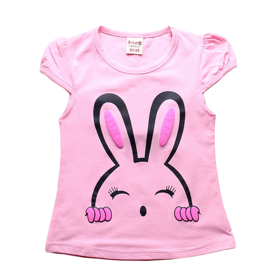 New 2017 Summer Baby Girls Short Sleeve T-shirt Children Clothes Kids Tops T Shirts Cute bunny Print Tees 100% Cotton HZ2010