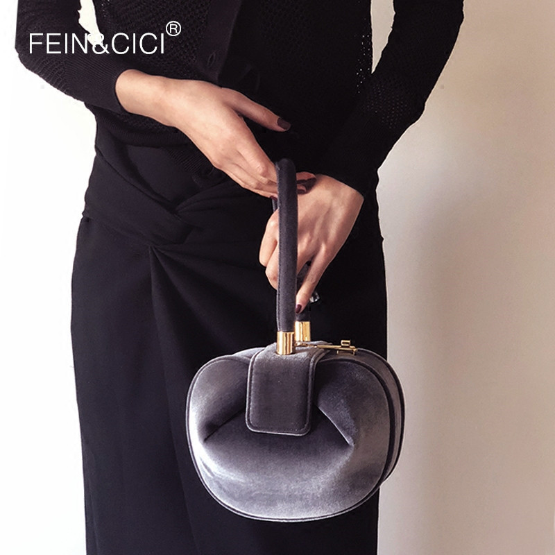 velvet round bag women velour evening party totes bag 2018 new vitage fashion brand handbags grey