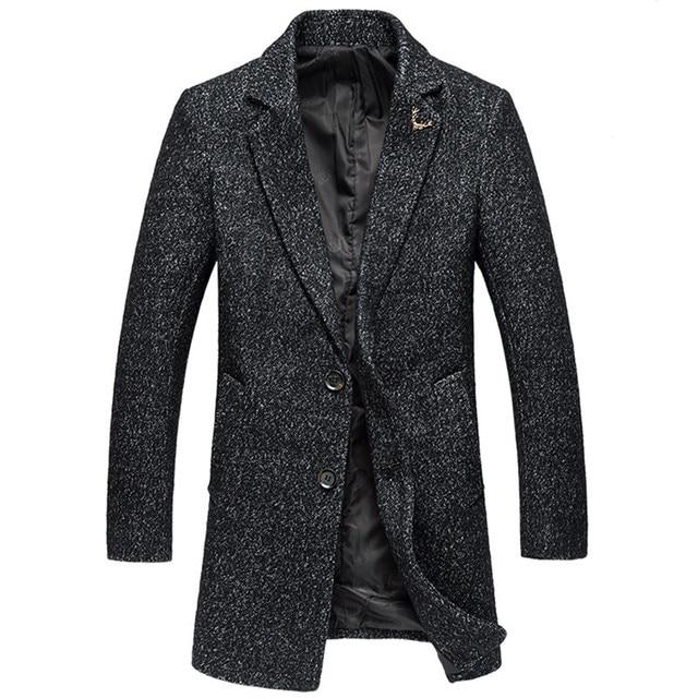2016 invierno de Los Hombres de moda de alta calidad chaquetas trinchera Hombres de la capa de un solo pecho estilo largo cazadora de gran tamaño M-5xl
