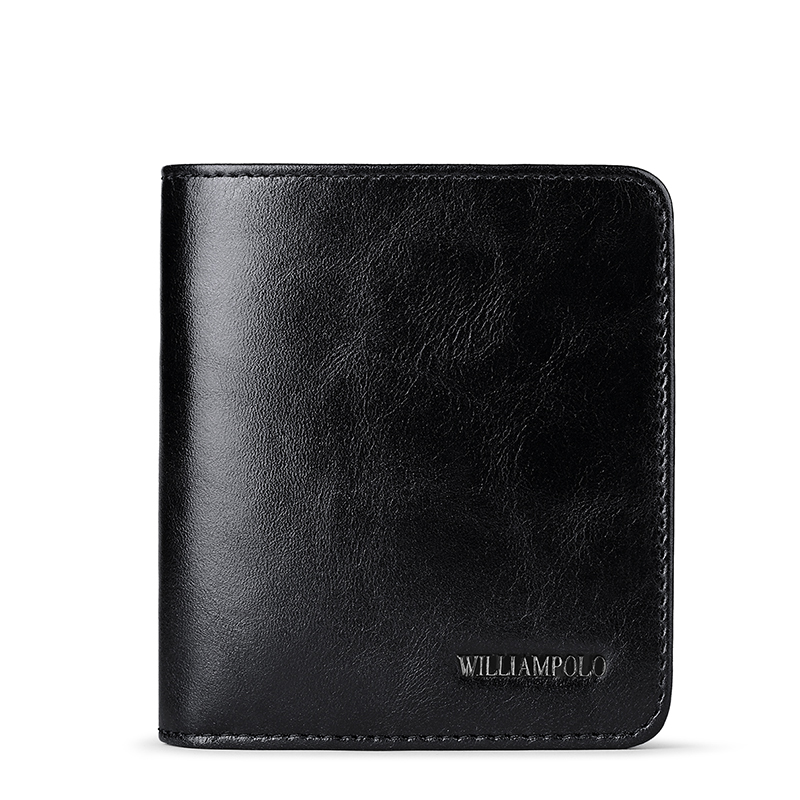 WILLIAMPOLO 2018 Classic Mini Wallet Men Purse Genuine Leather Card Holder For Man Minimalist Money Bag 2 Fold Slim Wallet men