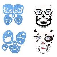 6 Setsนำมาใช้ใหม่หน้ากากสีแม่แบบสำหรับA Irbrushแต่งหน้าชั่วคราวสักS Tencilsจิตรกรรมสำหรับฮาโลวีนปาร์ต...