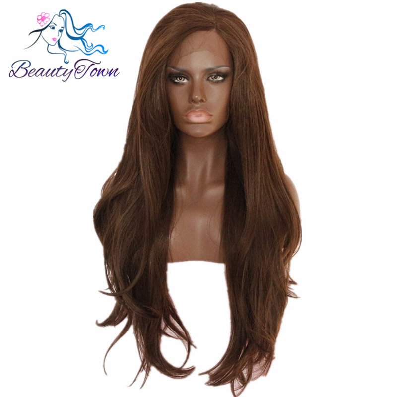 BeautyTown #6 Glueless Heat Resistant Natural Wavy Long Hand Tied Blogger Daily Makeup Wedding Party Synthetic Lace Front Wig