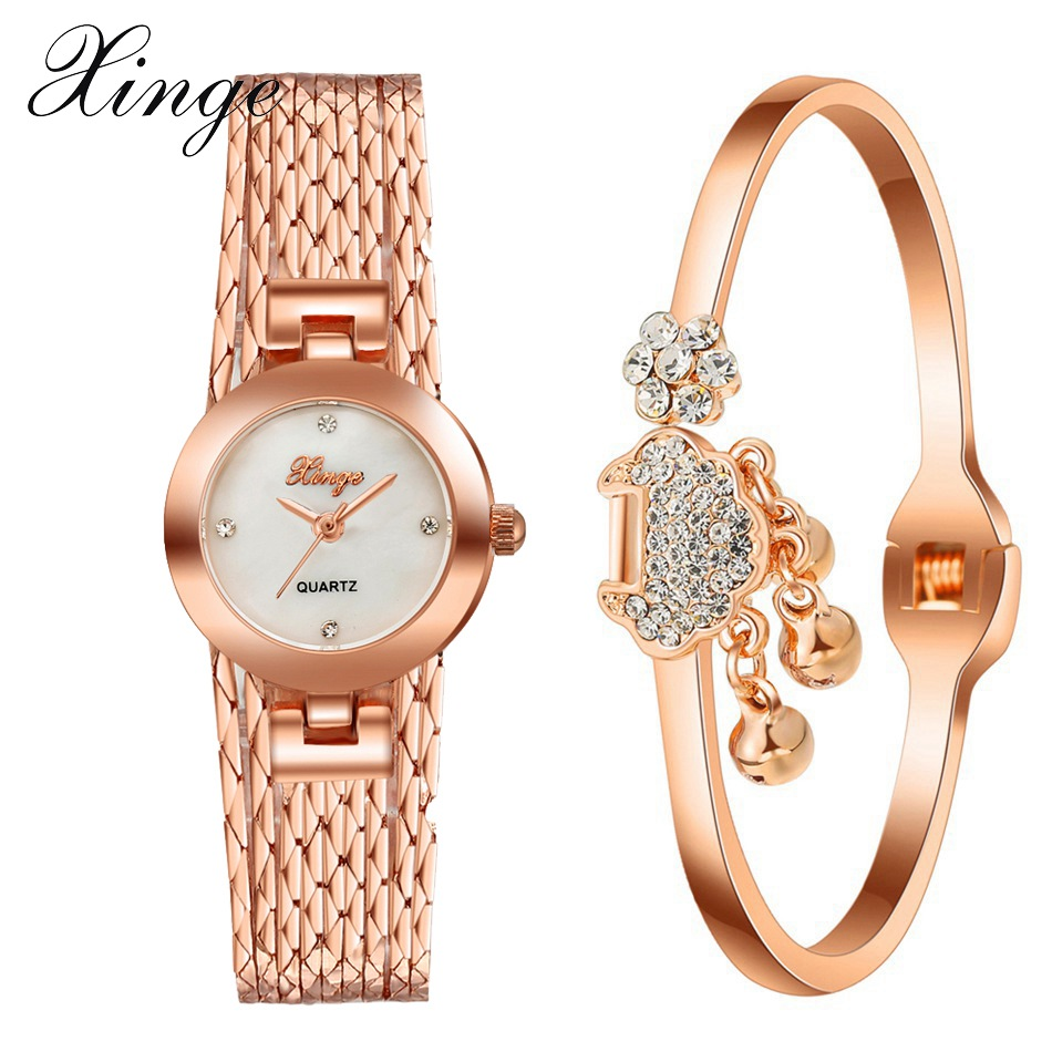 Xinge Brand Fashion Watch Women Rose Gold Luxury Gemstone Dress Bracelet Wristwatch Ladies Dress Jewelry Quartz Watch Set Clock xinge brand watch women bracelet rhinestone chain bangles jewelry watch set wristwatch waterproof ladies gold quartz watch