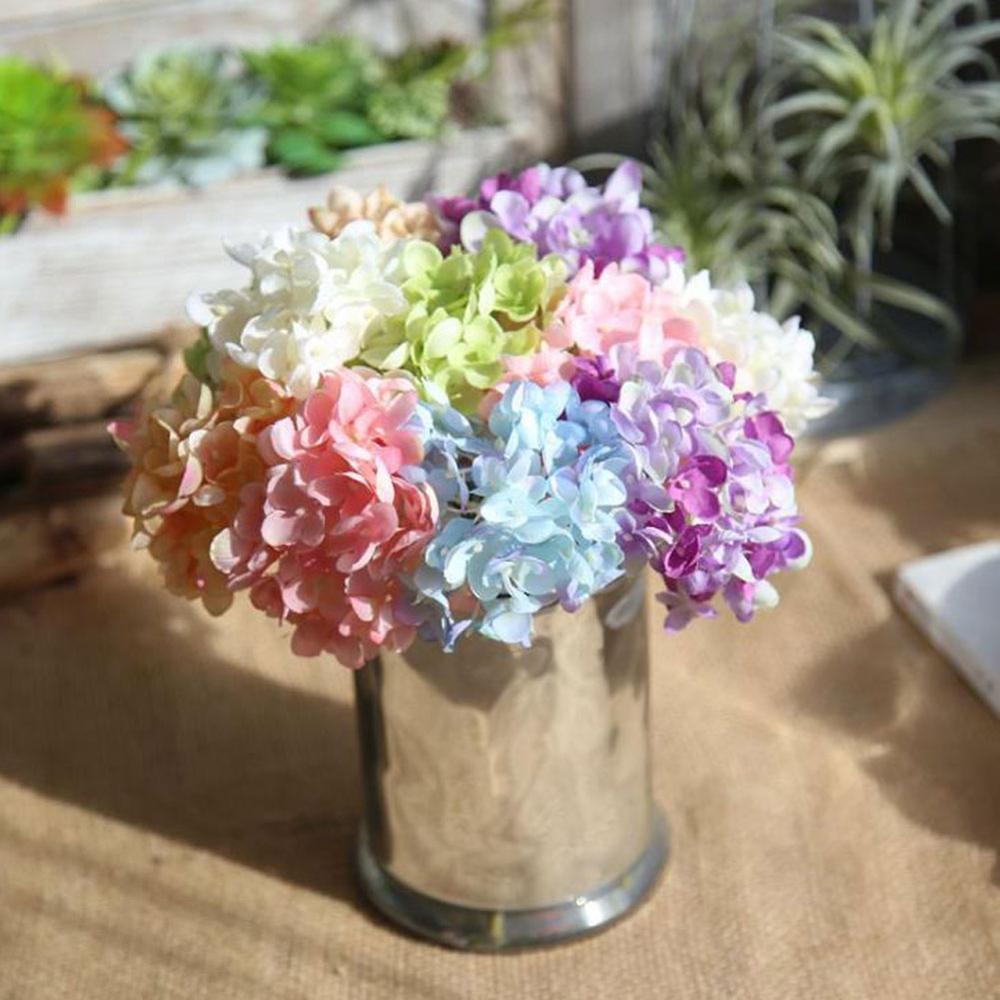 Silk Flower Wedding Decoration Artificial Flowers Spring Vivid Hydrangea Wedding Flowers Decoration 6 Colors Xf30