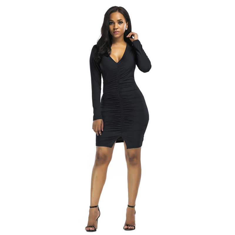 Fashion Women Autumn Sexy Slim Dress Solid Long Sleeves Deep V Pleated Bodycon Club Dress Vestidos Size M-3XL