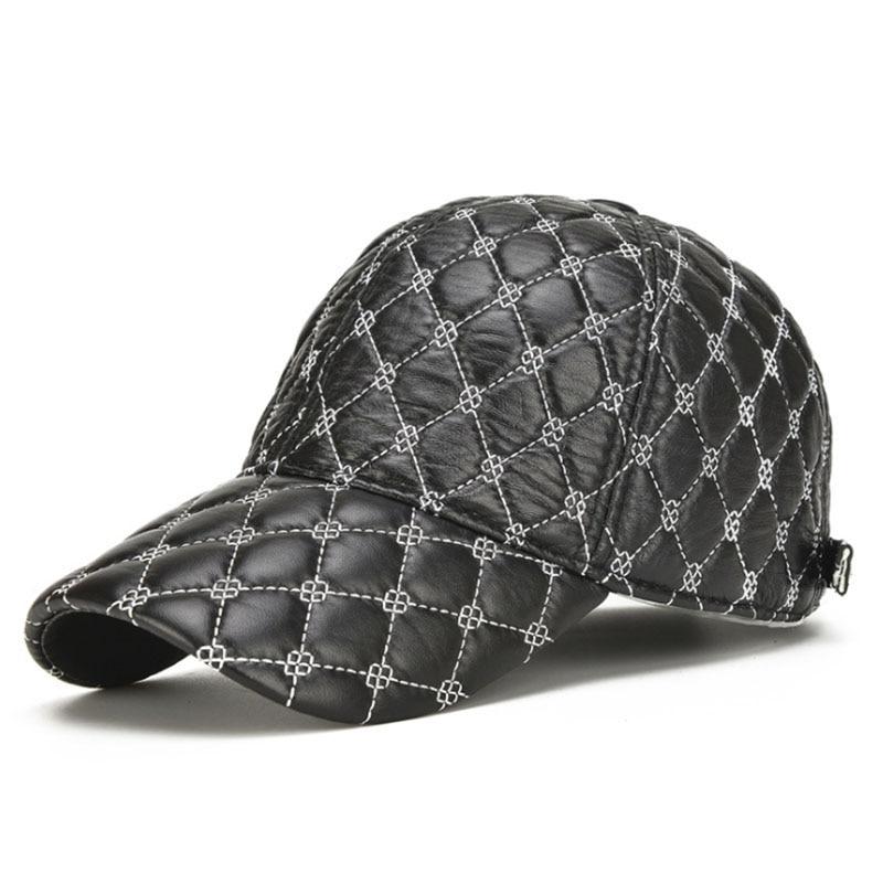 [AETRENDS]Winter Hats for Men Black Full Plaid Genuine Leather Cap Mens Baseball Cap Dad Hat Trending Toucas Army Trucker Z-5428
