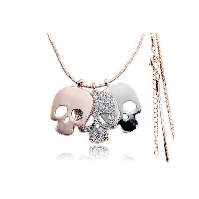 Горный хрусталь сахарный череп ожерелье женщина/Новая мода хип-хоп ювелирные изделия из розового золота Мексика скелет подвеска длинное ожерелье свитер цепи