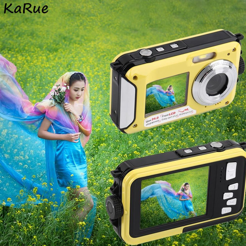 KaRue W599 Professional Camera 24 MP 2.7inch 3MP CMOS Front Rear Dual-screen  Digital Cameras Waterproof Compact CameraKaRue W599 Professional Camera 24 MP 2.7inch 3MP CMOS Front Rear Dual-screen  Digital Cameras Waterproof Compact Camera