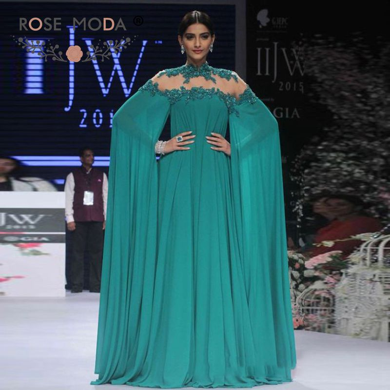 Rose Moda Backless Emerald Green   Evening     Dress   with Long Sleeves Long Party   Dresses   2019