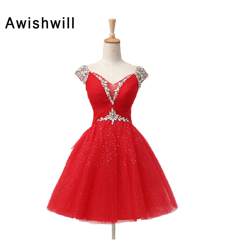 Real Picture Lace-up Back Beaded Rhinestones A-lin Party Homecoming Dress Sexy Short Mini Prom Dresses With Cap Sleeves