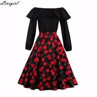 Women Dress Robe Vintage Patchwork Black Off Shoulder Long Sleeve Dress Jurken 1950s 60s Retro Rockabilly