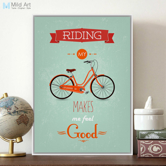 Modern Inspirational Bike Bicycle Quotes Typography Poster Print A4 ...