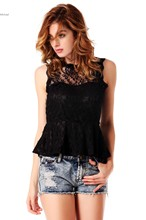 Summer Lace Chiffon Blouses Sexy Sleeveless Shirts Women's Hollow Out Tank Tops 36