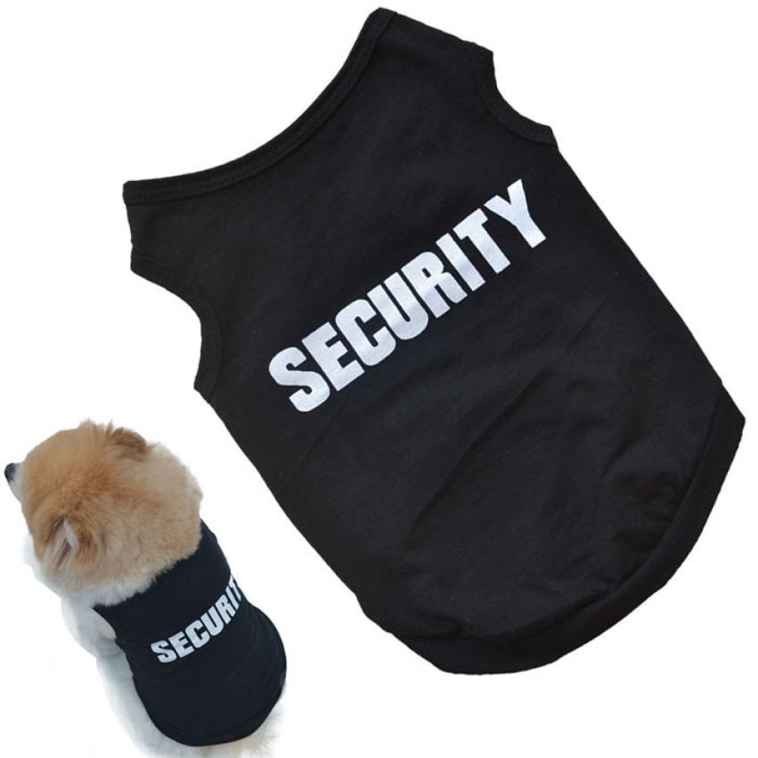2017 Newly Design SECURITY Black Dog Vest Summer Pets Dogs Cotton Clothes Shirts Apparel Ropa Para Perros Summer Dog Clothes
