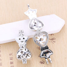 5pcs Bright Silver Heart Shaped Cross Smile Pearl Cage จี้น้ำมันหอมระ(China)