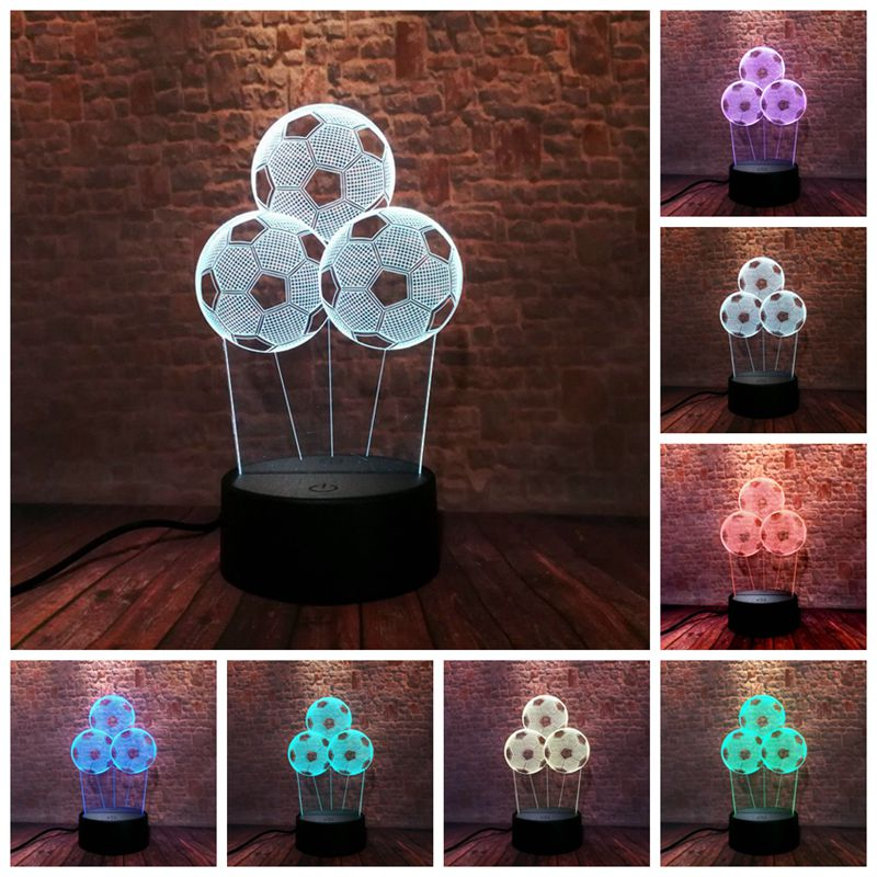 Football Model Home Decor 3D Illusion NightLight LED Colourful Flash Light Desk Lamp Toys