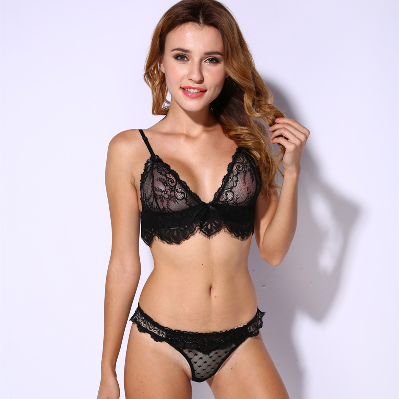 Lace   Bra     Set   Unlined Bralette Bikini See Through Sexy Triangle   Bra   Wireless Brassiere Suit Fashion Intimate Underwear