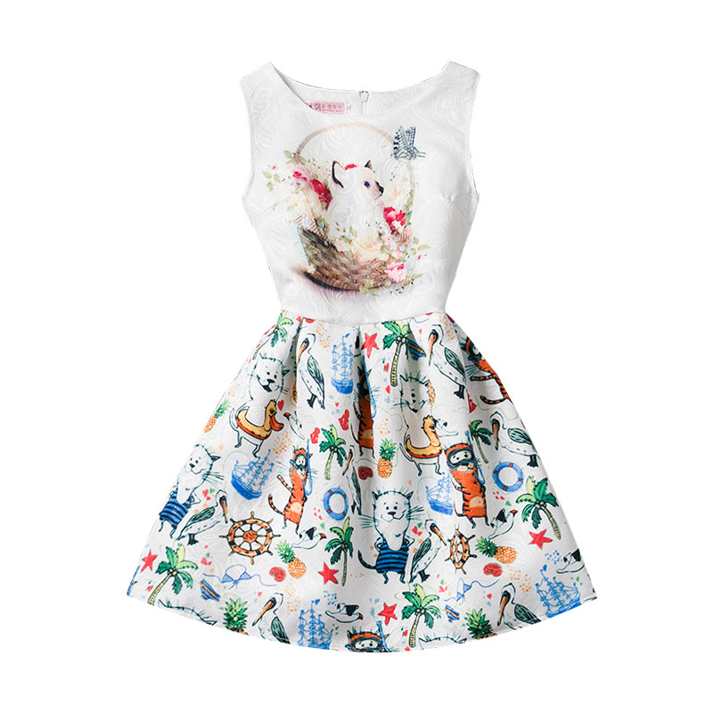 5d7cac6f9 Fashion Print Girls Summer Dress 2017 Children Clothing Girl ...