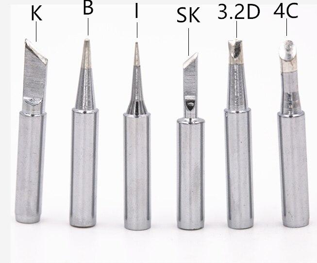 Купить с кэшбэком Free shipping 6 kinds pure copper Iron tip 900M-T soldering tip for hakko soldering rework station soldering iron station