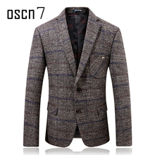 Oscn7 Grey Hound Tooth Mens Wool Blazer 2017 Winter Thicker Check Slim Fit Blazers Mens Formal Casual Wedding Suit Jacket Men