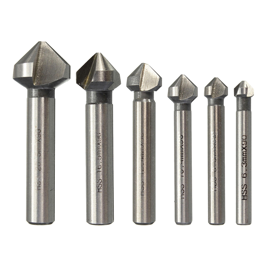 1pc 3 Flute HSS Countersink Drill Bit 90 Degree Chamfer Cutter Tool For Wood Steel 6.3/8.3/10.4/12.4/16.5/20.5mm