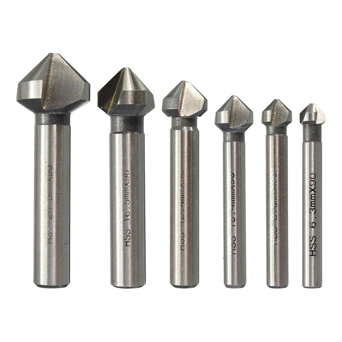 1pc 3 Flute HSS Countersink Drill Bit 90 Degree Chamfer Cutter Tool For Wood Steel 6.3/8.3/10.4/12.4/16.5/20.5mm