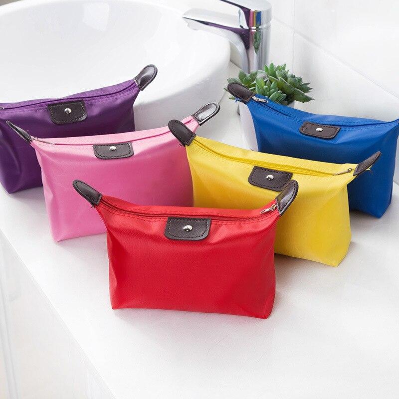 Foldable Women Travel Cosmetic Bag Mini Girl Makeup Bag Organizer Waterproof Nylon Red Large Capacity Zipper Toiletry Pouch Case