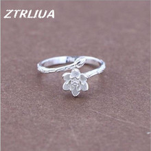 925 Sterling Silver Original Fine White Lotus Flower Silver Opening Ring Fashion Jewelry For Women           SR40
