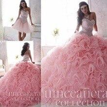 Luxo Frisada Lace Querida Light Pink Puffy Vestidos Quinceanera 2016 2 em 1 Destacável Saia de Babados Doce 16 Vestidos Pageant(China (Mainland))