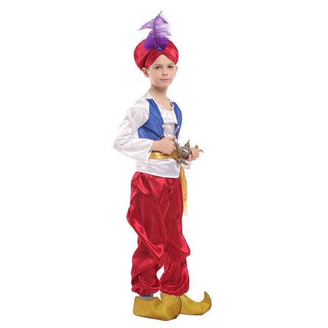 Us 10 13 20 Off Kids Children Halloween Party Aladdin Costumes Aladdin Lamp Genie Costume Adam Prince Fantasia Arab Clothing Child Boy Carnival In