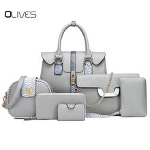 6 PCS/Set Red PU Leather Handbags Women Bag Set Famous Brands Tote Bag