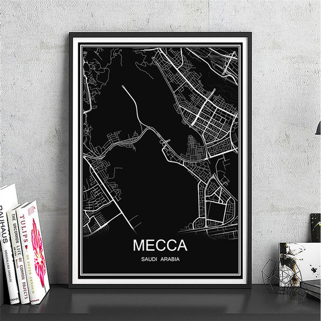 Hot sale world map mecca canvas and coated paper modern city hot sale world map mecca canvas and coated paper modern city poster abstract print picture oil gumiabroncs Gallery