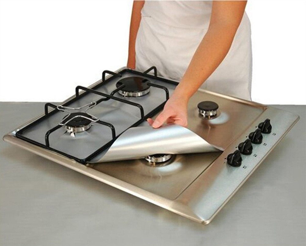 Burner-Covers Protector Stove Oven-Liner Kitchen-Tools Glass 2PCS Sheets Mat Foil Gas