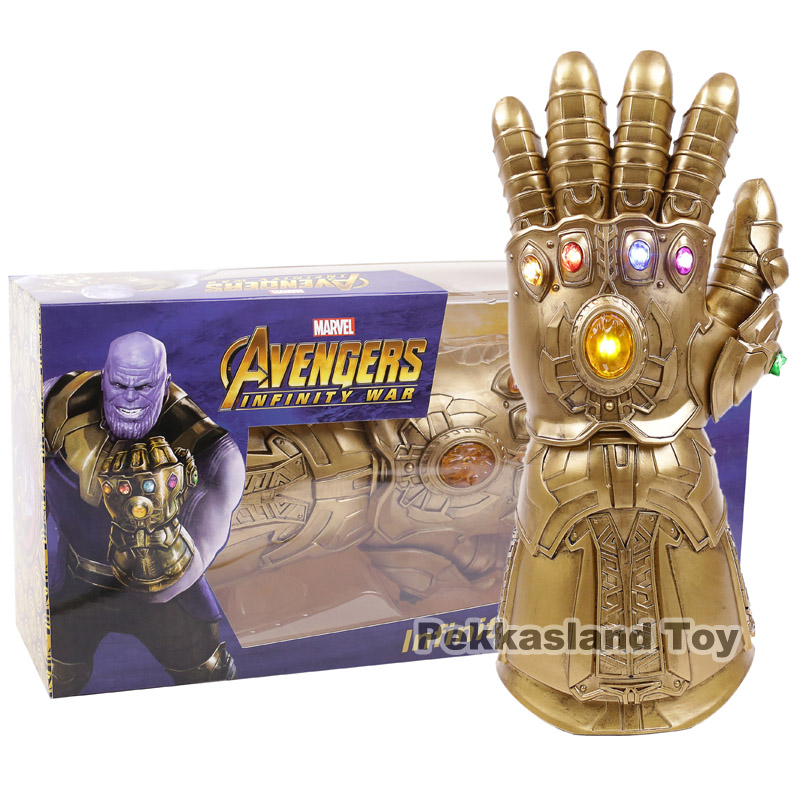 Thanos Infinity Gauntlet LED Light Gloves Cosplay Infinity War The Avengers Prop High Quality 38CM high quality 2018 avengers 3 1 1 thanos glove halloween cosplay prop thanos infinity war gloves