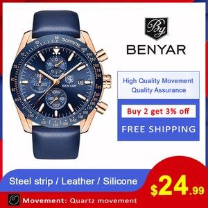 Image 2 - BENYAR 2018 nowy mężczyzna zegarka biznes pełny stalowy kwarcowy Top marka luksusowe dorywczo wodoodporny sport męski zegarek Relogio Masculino