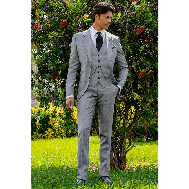 Anna Magnan Mens Casual Suits Tailored Formal Wedding Groombride Tuxedos Gray 4 Pieces Party